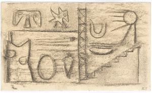 Gilgamesch, Blatt 19: Als die Sonne am nächsten Morgen erstrahlte, öffnete Gilgamesch die hohe Pforte des Tempels ..., 1943