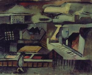 Abstrakte Landschaft in Grau, um 1920