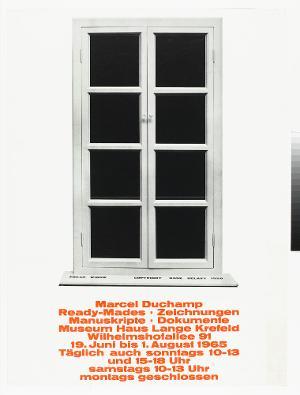 Ausstellungsplakat: Marcel Duchamp, Ready-Mades, Zeichnungen, Manuskripte, Dokumente, Museum Haus Lange Krefeld, 1965