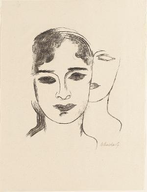 Zwei Mädchenköpfe (Blatt 2 in: Bauhaus-Drucke. 5te Mappe), 1922 (1923)