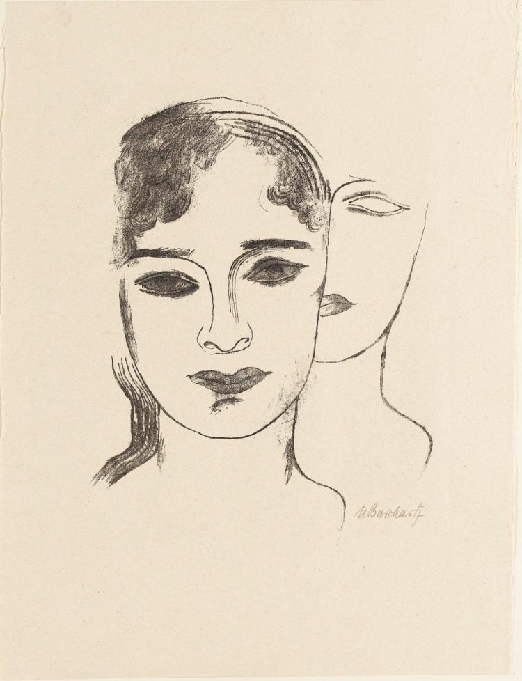 Zwei Mädchenköpfe (Blatt 2 in: Bauhaus-Drucke. 5te Mappe)