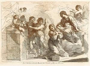 Die heilige Teresa mit dem Jesuskind und der Madonna umgeben von Engeln und Putti (Taf. 12 in: Raccolta di alcuni disegni del Barberi da Cento detto il Guercino), 1764 (um 1780)