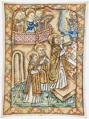 Christus beim Meßopfer, mit einer Heiligen als Chorsängerin, 16. Jh.