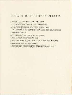 Der Krieg, Inhaltsverzeichnis Mappe I, 1924