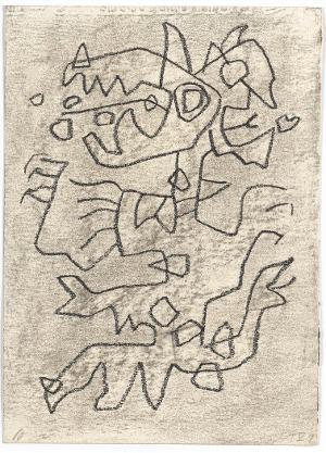 Gilgamesch, Blatt 25: Chumbaba selbst sahen sie kommen, Pranken hatte er wie ein Löwe, den Leib mit ehernen Schuppen bedeckt, 1943