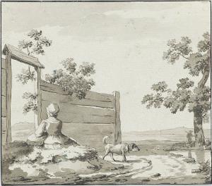 Landschaft mit rastender Frau und Hund, nicht datiert