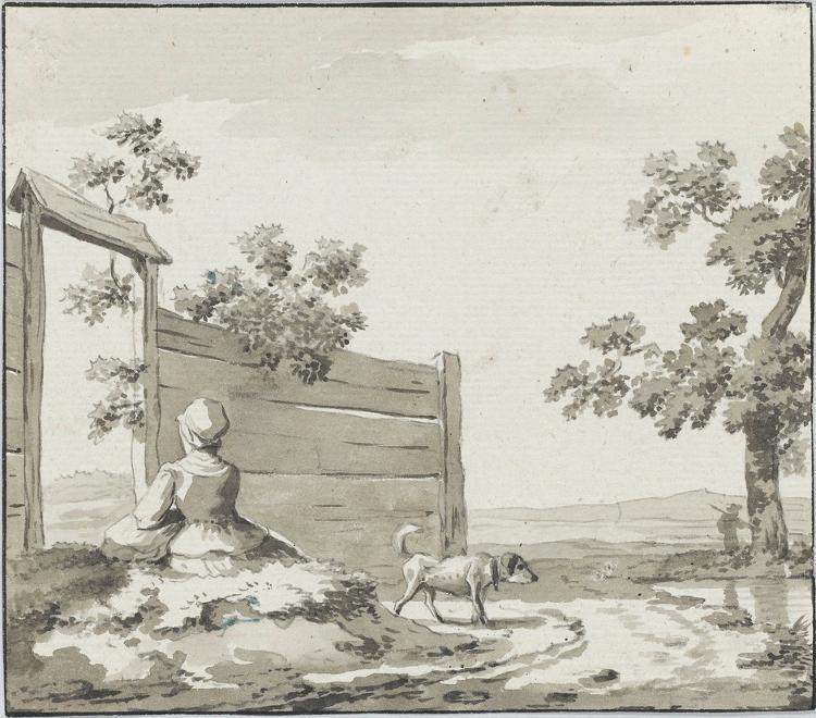 Landschaft mit rastender Frau und Hund