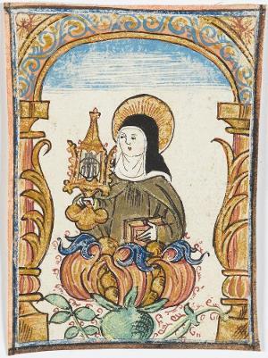 Die Heilige Klara von Assisi, aus einer Blütenranke wachsend, 16. Jh.