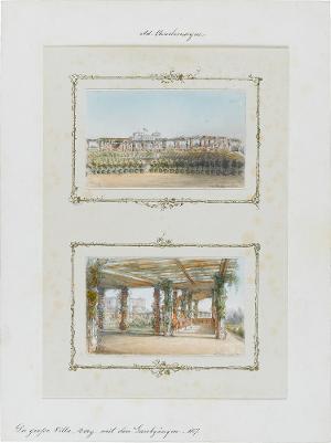 Die grosse Villa, Berg. mit den Laubgängen, 1857