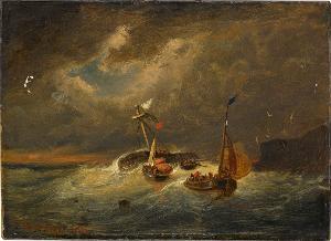 Segelschiffe im Sturm, 1842