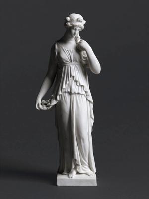Bekleidete weibliche Gestalt mit Blumen, Um 1800
