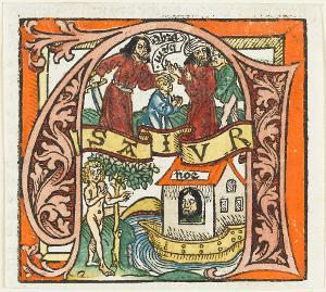 Initiale »A«  mit Abrahams Opfer, Adam im Paradies,  Noah in der Arche, um 1476/1478