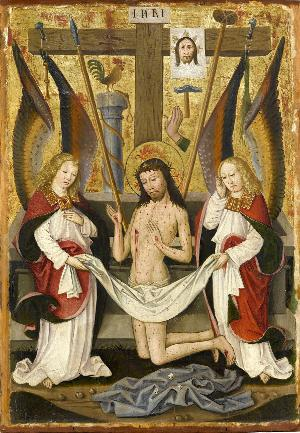 Christus als  Schmerzensmann zwischen zwei Engeln und den arma Christi, um 1490/1500