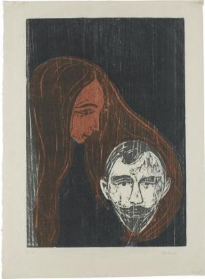Männerkopf in Frauenhaar, 1896
