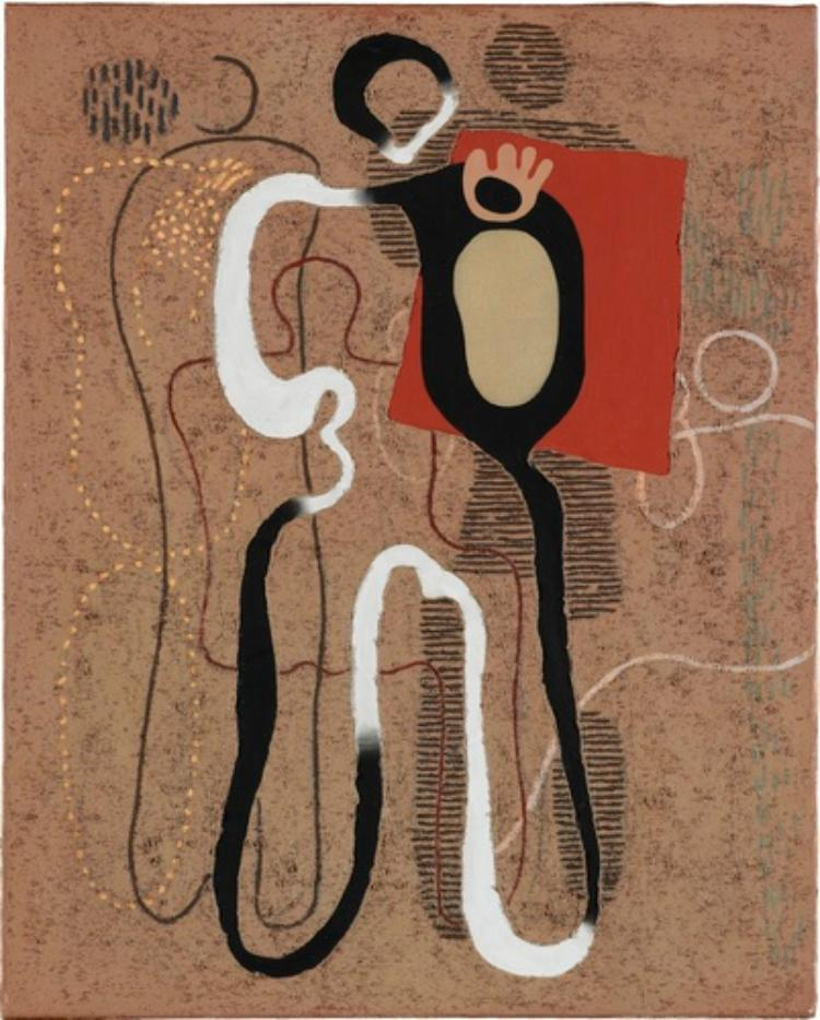 Stehende Figur mit rotem Feld