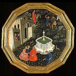 Arcita und Palemone erblicken Emilia (Szenen aus der Teseida des Giovanni Boccaccio), um 1430