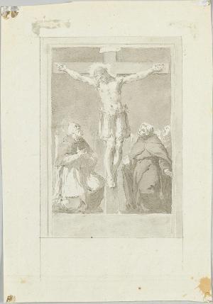 Der gekreuzigte Christus, von einem Heiligen und zwei Mönchen verehrt, 1. Hälfte 18. Jh.