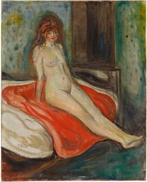 Mädchenakt auf rotem Tuch, 1902