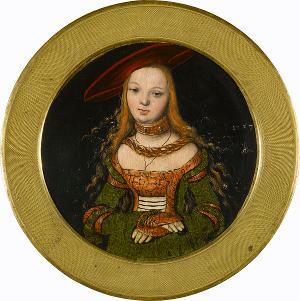 Bildnis einer jungen Frau im Rund, um 1525-1527