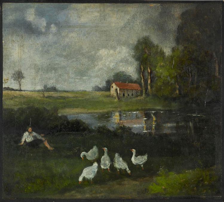 Landschaft mit Hirt und Gänsen