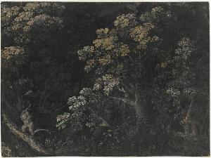 Waldlandschaft mit einem Holzfäller, Anfang 17. Jh.