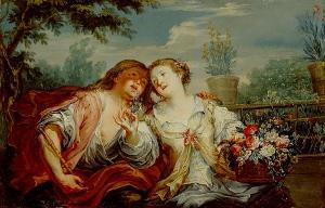 Junges Paar im Garten (Allegorie des Frühlings), 2. Drittel des 18. Jahrhunderts