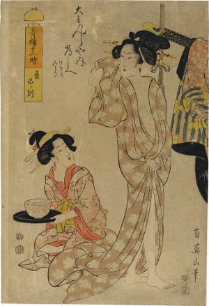 Tagsüber, die Stunde der Schlange: Toshie aus dem Haus Daimonji-ya  (Aus der Serie: Die zwölf Stunden im Freudenhaus), 1812-1820