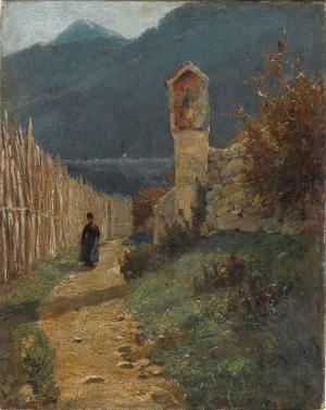 Bergige Landschaft mit Bildstock, nicht datiert