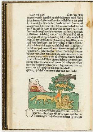 Die 13. Fabel: Von dem Adler und dem Fuchs (in: Aesopus, Fabeln. Augsburg: Zainer, vii verso), 1477/1478