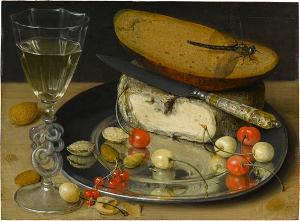Stilleben mit Käse und Kirschen, 1635