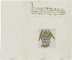Ex-Libris des Hilprand Brandenburg aus Biberach, um 1480