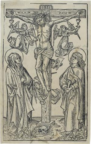 Christus am Kreuz mit Maria, Johannes und Engeln, die das Blut auffangen, um 1490