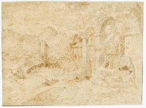 Hl. Familie in Ruinenlandschaft (Ruhe auf der Flucht?), um 1530