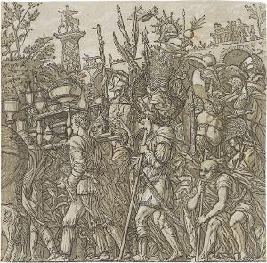Die Harnischträger (Blatt 6 in: Der Triumphzug Caesars), 1598/99