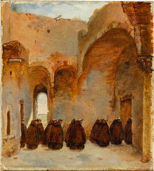 Klosterhof mit Mönchen, nicht datiert