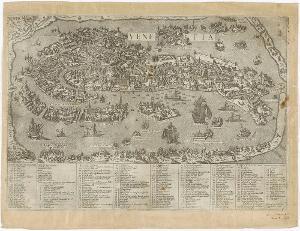 Stadtplan von Venedig mit Legende, um 1580