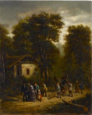 Begegnung am Waldhaus, nicht datiert
