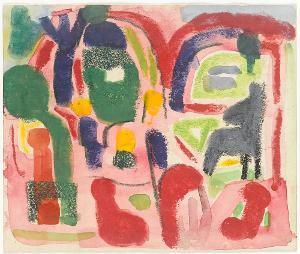 Gartenkomposition; Verso: Landschaft mit See und Boot, 1955/60; verso: um 1930