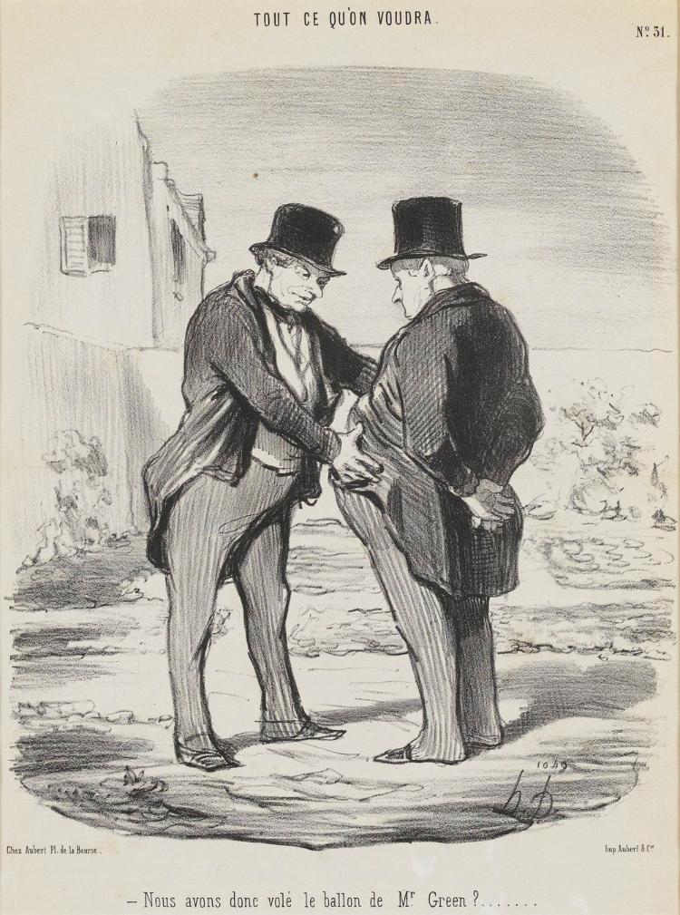 Wir haben wohl den Ballon von Mister Green gestohlen, was? (Le Charivari, 12.09.1848)