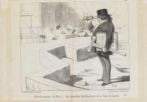 Die Verschönerung von Paris. - Die neuen Befestigungen im Hof des Louvre (Le Charivari, 26.12.1850). , 1850
