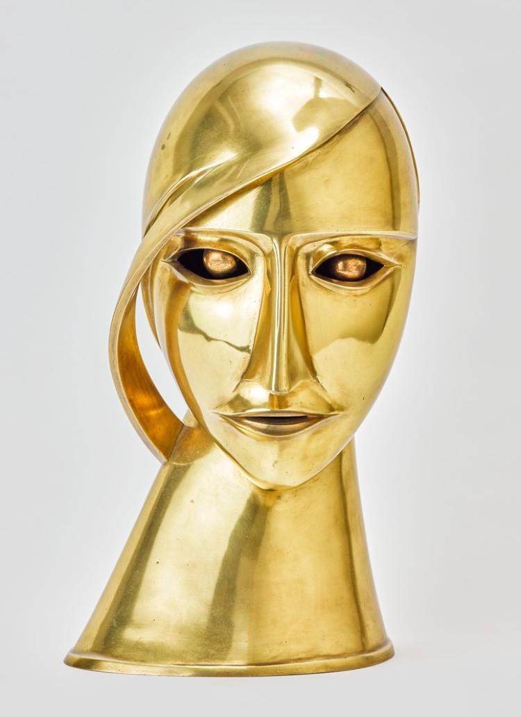 Head in brass (Portrait Toni Freedan)