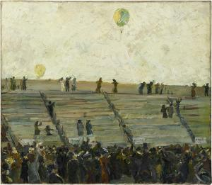 Aufstieg der Ballons beim Gordon-Bennett-Rennen (Ballonwetttfahrt), 1908