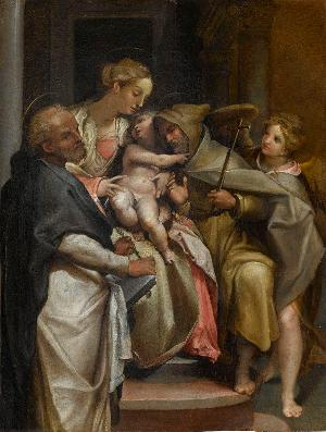 Maria mit Kind und den Hll. Felix (?) und Dominikus, um 1560/70