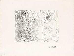 Sculpteur travaillant sur le motif avec Marie-Thérèse posant (Bildhauer bei der Arbeit mit Marie-Thérèse Modell stehend) (aus: Suite Vollard ), 31.3.1933