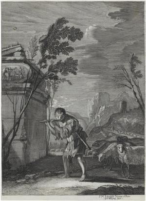 Flötender Hirt mit Schafen (»Variae Capryc:«, 1661), 1661