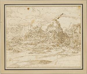 Alpenlandschaft (Dolomiten); verso: Studie zu einer Heiligen Familie, um 1530/40
