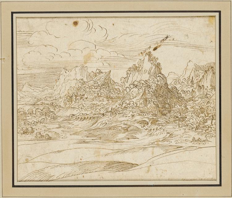 Alpenlandschaft (Dolomiten); verso: Studie zu einer Heiligen Familie