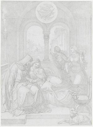 Königin Ute deutet Kriemhild den Falkentraum (Nibelungenlied, l. Aventure), um 1830/31