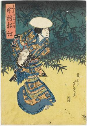 Der Schauspieler Nakamura Matsue III als Tamazasa, die Frau von Kaheiji, 1829
