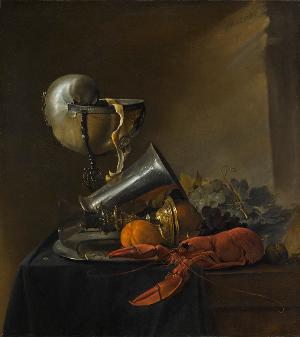 Stillleben mit Nautiluspokal und Hummer, 1634